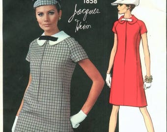 60s MOD Jacques Heim Dress Pattern VOGUE Paris Original 1858 A-Line Dress Peter Pan Collar Size 8 Vintage Sewing Pattern