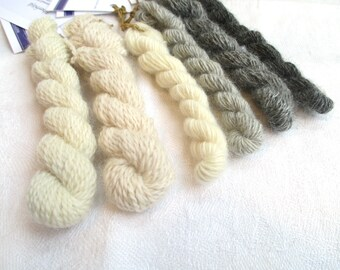Sample kit, local yarns made from Swedish fibre and spun in Sweden, each sample 15 m, angora, lambswool, gotland wool, finewoo
