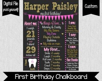 Pink Gold First Birthday Chalkboard - Chalkboard Poster - Pink - First Birthday - Pink Chalkboard - Pink & Gold Birthday - 1st Birthday