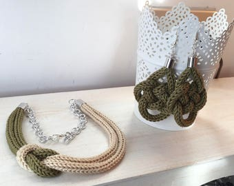 Military Green knot necklace + Military green knot earrings