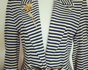 Vintage 80s French stripes Blazer jacket