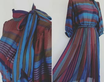 Vintage 70s belted Dress Tea Dress Secretary Autumn Party Dress size M
