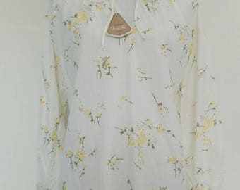Vintage Lingerie floral night gown long night dress velsuede size L/XL
