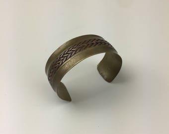 braided copper & brass cuff bracelet 70s