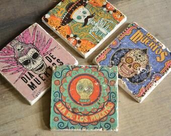 Coaster set-4 Dias de los Muertos marble Tiles