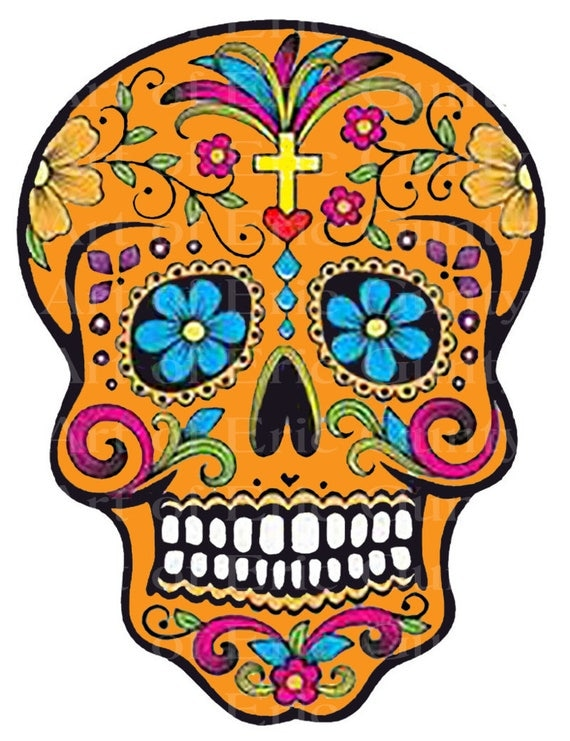 Orange Sugar Skull Halloween Birthday - Edible Cake and Cupcake Topper For Birthday's and Parties! - D22646
