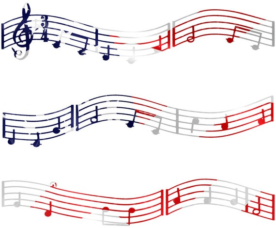 Patriotic Music Band Notes - Birthday Background - Designer Strips - Edible Cake Side Toppers- Decorate The Sides of Your Cake! - D22674
