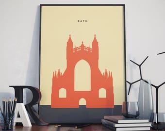 Bath Abbey Poster, Print. Poster. Roman Baths Poster.