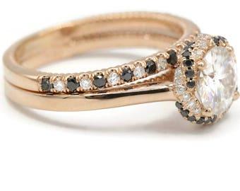 Rose god Engagement set, Braided Halo rings custom made by Irina, 8 mm Forever One Moissanite Rings Wedding Set