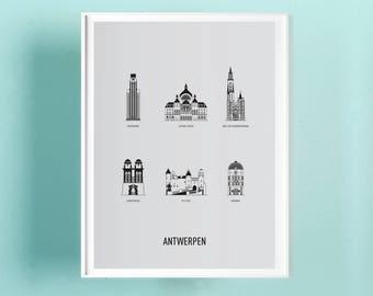 SALE - 20% Poster Antwerp A3 screenprint -  11.4 x 16.5 in - A3 - Clouds
