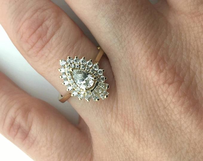 On sale!!!Diamond Engagement Ring 1 ct-14K Yellow Gold-Promise ring-Pear shaped diamond engagement ring-Anniversary ring- Art deco engageme