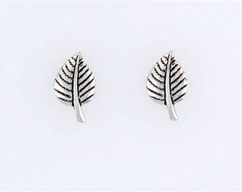 Sterling Silver Silver 12mm Aspen Leaf Post or Stud Earrings