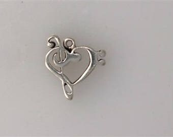 Sterling Silver Bass & Treble Clef Heart Charm