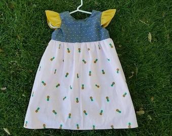 Pineapple flutter sleeve dress, pineapple summer dress, girls pineapple dress, pineapple clothing, baby girl dress, toddler dress