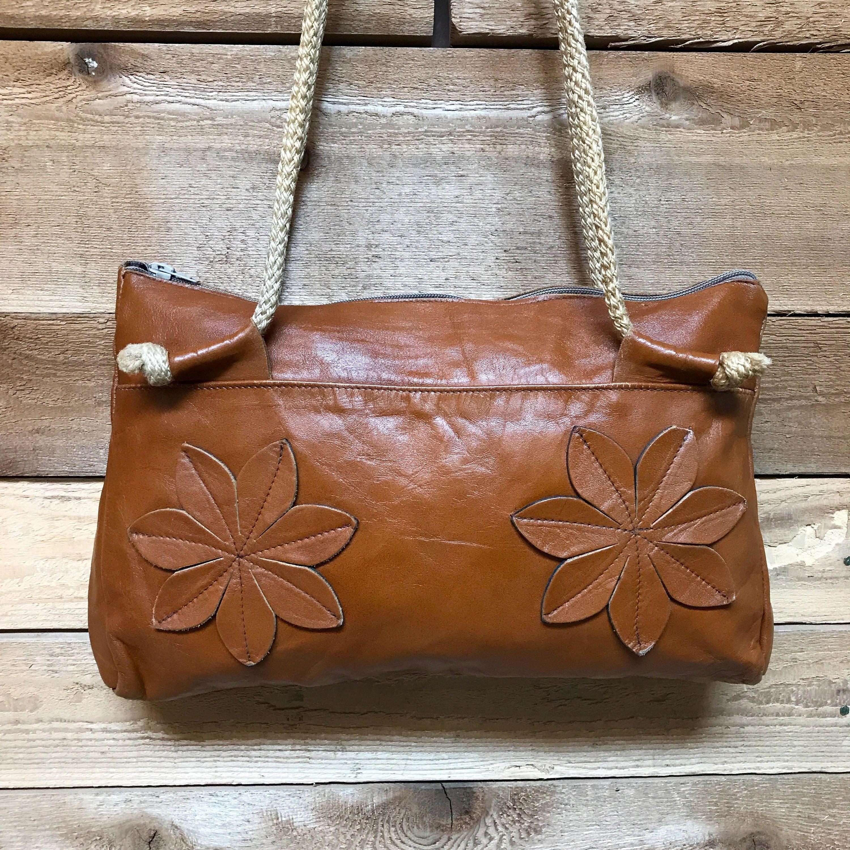 9fe74ea47d6eb8 Vintage 1970s Floral Tote Handbag Vtg 70s Brown Leather Bag with Rope  Handles