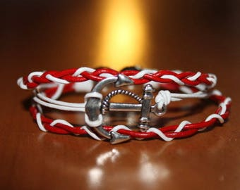 Leather Bracelet red and white with Navy anchor, magnetic clasp