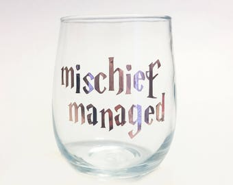 Rose Gold - Mischief Managed Harry Potter Inspired Stemless Wine Glass / HP Wine / Spells / Potter Fan