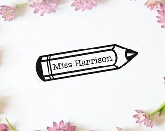 "Personalised Teacher Stamp, Custom Teacher Rubber Stamp, Teacher Name Stamp, Teaching kids, Personalised Stamp, Pencil, 2""x0.6"" (cts206)"