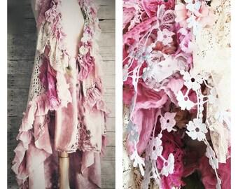 Pink Sunshine Shabby Chic mori Lace fiber textile art Cardigan vest Jacket Shrug Sweater Top Embellished crochet ruffle bolero OSFM