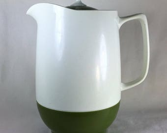 Vintage (70s) Green & White Thermos Insulated Ware Hot or Cold Pitcher/Carafe