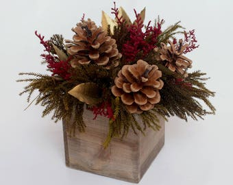 Christmas Centerpiece, Holiday Decor, Burgundy Red And Gold Christmas  Decorations, Rustic, Dry
