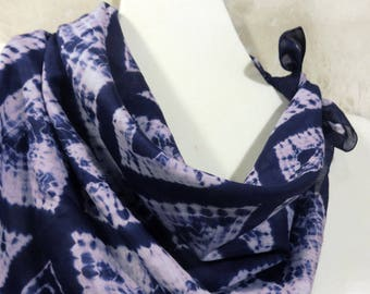 Bandana Square silk cotton scarf Shibori Blue white hand dyed shawl Mens Womens headscarf Geometric tie dye scarf Travel neckerchief