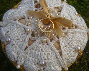 Gold Trimmed Irish Cotton Ring Bearers Cushion