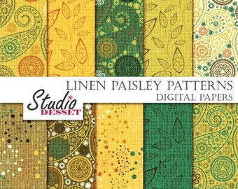 SUMMER SALE - 55% OFF Yellow Papers Paisley, Leaves Paper Flowers, Paisley Papers, Wedding Invitation, Dandelion Paper, Diy Supplies A140