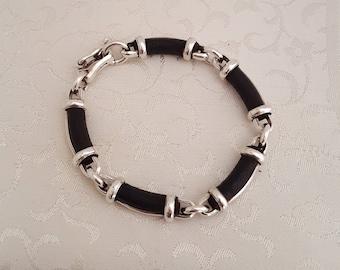 Vintage Sterling Silver and Black Licorice Leather Bracelet -EB792