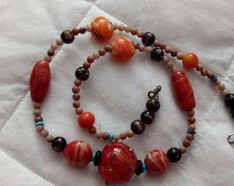 Coral color and turquoise,  beaded necklace.