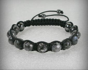 MEN Shamballa Bracelet with 10 mm Faceted Black Labradorite Beads , Stone bracelet . Shamballa Bracelet