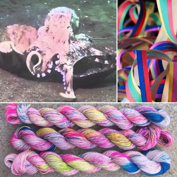 Party Octopus 20g Miniskein, grey gray pink 75/25 merino nylon sock yarn with rainbow speckles