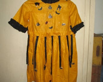 ANTIQUE HALLOWEEN Flapper Party Frock COSTUME - Streamers, Diecuts, Cotton, Ruffles - Adorable
