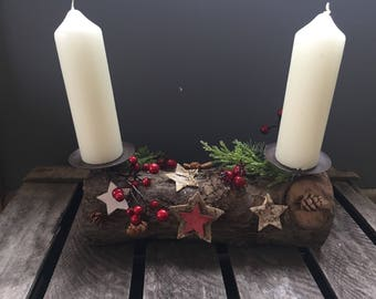 Christmas candle arrangement, log floral arrangement, xmas centrepiece.