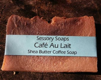 Cafe Au Lait Coffee Shea Butter Soap with Cocoa Swirl