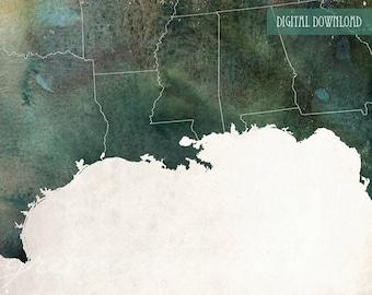 Gulf Coast Map Etsy - Map of the us gulf coast