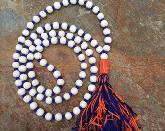 Long Beaded tassel necklace Blue & orange tassel white wood ladies necklace Bohemian necklace boho necklace gift for her Game Day