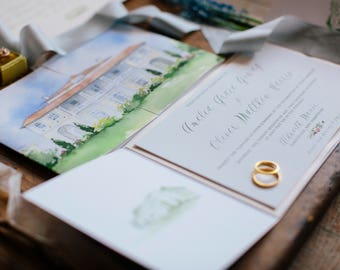 Complete Couture Custom Design - Watercolor Wedding Invitation Suite Design - Watercolor Wedding Package -  Custom Wedding Collateral