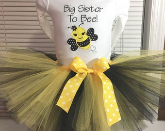 Big Sister Outfit, Big Sister To Bee Outfit, Big Sister Tutu Set, I'm Going To Be A Big Sister Outfit, Bee Big Sister Tutu Set