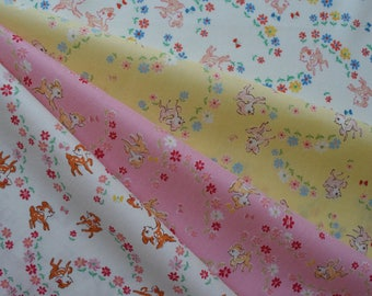 """Bundle of 1/8 Lecien Old New 30's Collection Bambi and Floral in 4 colorways. Approx. 9"""" x 21"""" Made in Japan"""