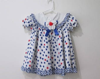 Vtg red white blue girls shirley temple style dress size 3