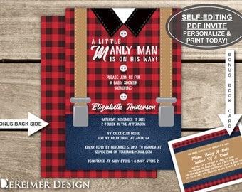 Lumberjack Baby Shower Invitation, Little Man, Suspenders, Black, Red, Buffalo Plaid, Suspenders, Self-Editing PDF Invite, BONUS Book Card
