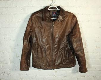 90s Chaps Ralph Lauren Leather coat jacket riding motorcycle vintage retro men's