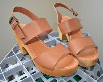 Brown strappy, wooden soled chunky heels- 39/ 9