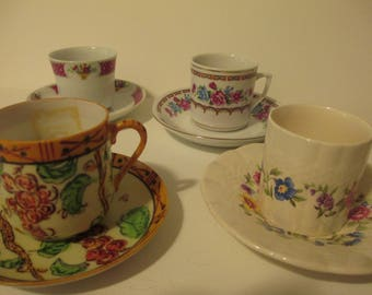 Demitasse Cups and Saucers, 4 sets