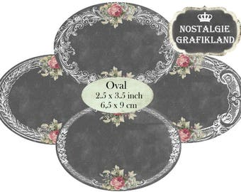 digital Frames Chalkboard Oval Labels 3.5 x 2.5 inch printable etiquettes packaging Download digital collage sheet O165