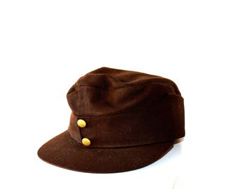 1940's German Military Hat / Vintage Original German Army 3100 St. Polten Jobi Ski Cap / Size Small Brown Military Army Field Hat in Field