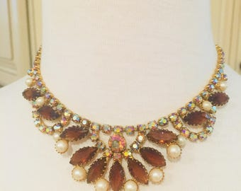 Topaz, Pearl, and Crystal 1960's Necklace