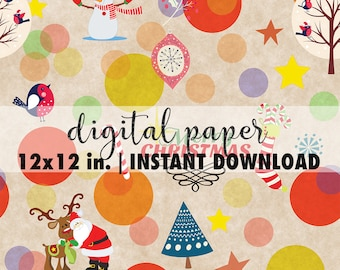Seamless Christmas paper digital 12x12, seamless Christmas pattern, premade scrapbook pages, background download, Christmas paper sheets #1