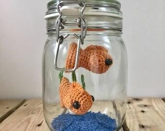 No Fuss Fish - Two Crochet Goldfish in a Glass Jar